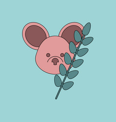 Flat icon design collection koala and plant vector