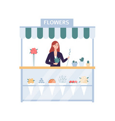Flower shop stand with florist woman selling vector