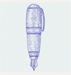 fountain pen hand drawn sketch vector image