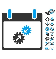 Gears Integration Calendar Day Icon With vector