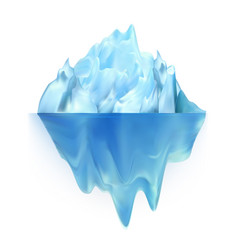 Glacier icy rock floating on water waves vector