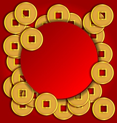 Gold coins background for Chinese New Year card vector image