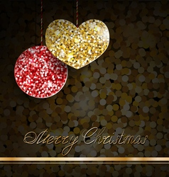 Gold glitter christmas decorations vector