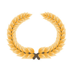 Gorgeous gold laurel wreath isolated cartoon flat vector