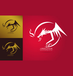 graceful dragon silhouette logo vector image