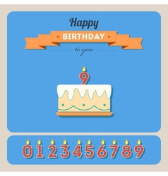 Happy birthday card with cake and candle number vector image