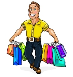 Happy man spectacled with packages in hand vector