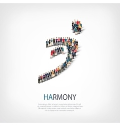 Harmony people sign 3d vector
