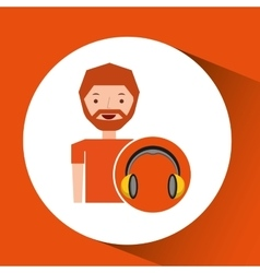 Headphones music cartoon guy beard vector