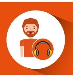 headphones music cartoon guy beard vector image