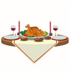 Holiday table with turkey vector