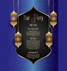 Iftar party menu design vector