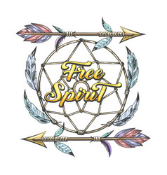 Indian arrows and dream catcher with wording free vector