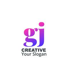 Initial letter gj lowercase design logo template vector