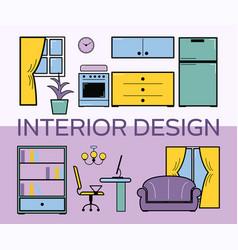 interior design room flat style set vector image
