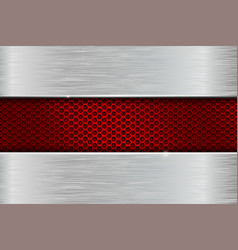 Iron brushed metal background with red perforation vector