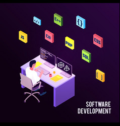 isometric programmers composition vector image