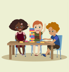 Jenga children play in wood block game jenga vector
