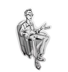 Journalist man sitting on a chair sketch vector