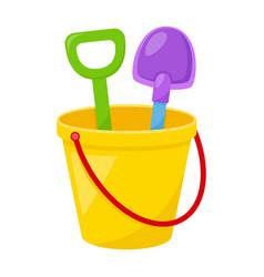 kid toy bucket with spatula vector image
