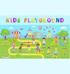 Kids playground in green park vector