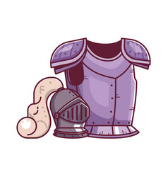 Knight armor and helmet fantasy icon vector