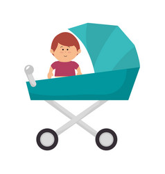 little baby in cart avatar character vector image