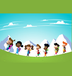 little kids on a hiking trip vector image