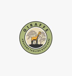 logo giraffe vintage badge style vector image