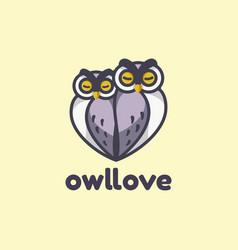 logo owl love simple mascot style vector image