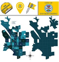 Map san bernardino ca with neighborhoods vector