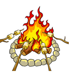 Marshmallow on bonfire pop art vector