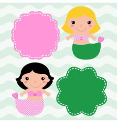 Mermaids with blank signs isolated on waves vector