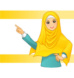 Muslim Woman Wearing Yellow Veil with Pointing Ar vector image