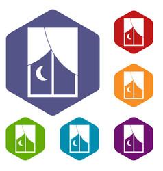 Nightly window icons set hexagon vector