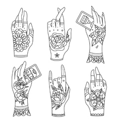 old school tattoo hands vector image