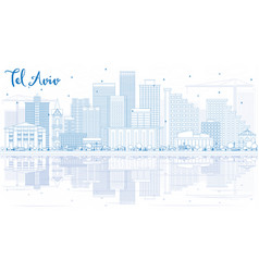 outline tel aviv skyline with blue buildings and vector image
