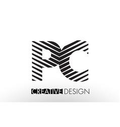 Pc p c lines letter design with creative elegant vector