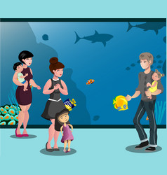 People in aquarium with children looking at fishes vector