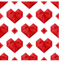 polygonal hearts pattern vector image vector image