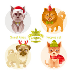 puppy dog breeds icon set - yorkshire terrier vector image