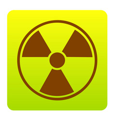 radiation round sign brown icon at green vector image