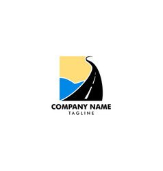 road beach logo design vector image