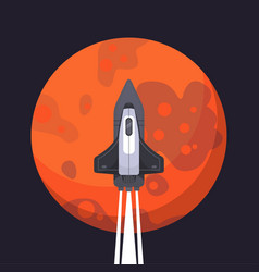 rocket ship and mars in cartoon style new vector image