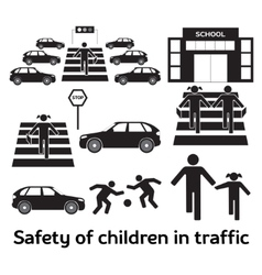 Safety of children in traffic vector