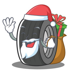 Santa tire character cartoon style vector