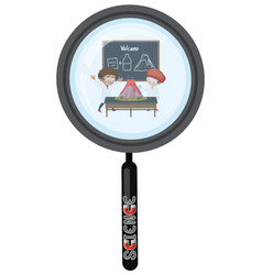 scientist in magnifying glass isolated vector image