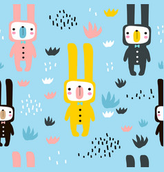 Seamless childish pattern with cute rabbits in vector