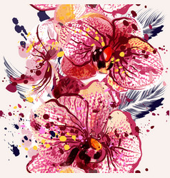seamless on a tropical theme with orchids vector image