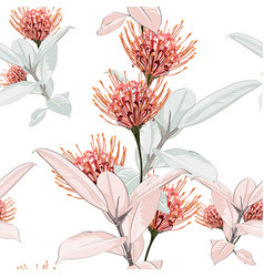 Seamless tropical protea flowers vector